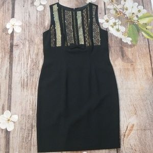 Carole Little black embroidered and beaded dress
